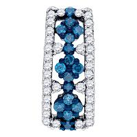 10kt White Gold Womens Round Blue Color Enhanced Diamond Cluster Vertical Pendant 1/2 Cttw