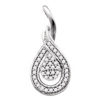 10kt White Gold Womens Round Diamond Teardrop Cluster Pendant 1/10 Cttw