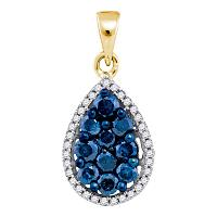 10kt Yellow Gold Womens Round Blue Color Enhanced Diamond Teardrop Cluster Pendant 3/4 Cttw
