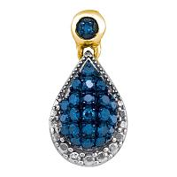 10kt Yellow Gold Womens Round Blue Color Enhanced Diamond Teardrop Cluster Pendant 1/6 Cttw