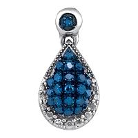 10kt White Gold Womens Round Blue Color Enhanced Diamond Teardrop Cluster Pendant 1/6 Cttw