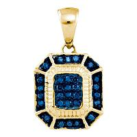 10kt Yellow Gold Womens Round Blue Color Enhanced Diamond Rectangle Cluster Pendant 1/6 Cttw