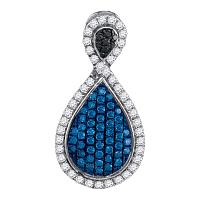 10kt White Gold Womens Round Blue Color Enhanced Diamond Teardrop Frame Cluster Pendant 1/2 Cttw