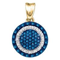 10kt Yellow Gold Womens Round Blue Color Enhanced Diamond Circle Frame Cluster Pendant 1/4 Cttw