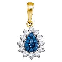 10kt Yellow Gold Womens Round Blue Color Enhanced Diamond Teardrop Cluster Pendant 1/4 Cttw