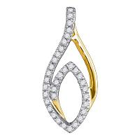 10kt Yellow Gold Womens Round Diamond Oval Fashion Pendant 1/5 Cttw