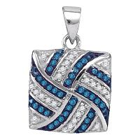 10kt White Gold Womens Round Blue Color Enhanced Diamond Square Pinwheel Pendant 1/4 Cttw
