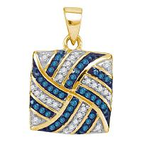 10kt Yellow Gold Womens Round Blue Color Enhanced Diamond Square Pinwheel Pendant 1/4 Cttw
