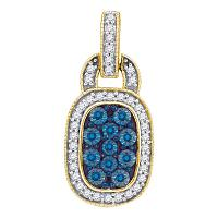 10kt Yellow Gold Womens Round Blue Color Enhanced Diamond Rectangle Frame Cluster Pendant 3/8 Cttw
