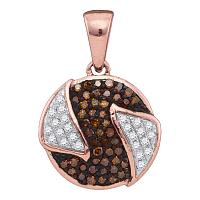 10kt Rose Gold Womens Round Red Color Enhanced Diamond Circle Cluster Pendant 1/6 Cttw