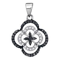 10kt White Gold Womens Round Black Color Enhanced Diamond Quatrefoil Cluster Pendant 1/4 Cttw