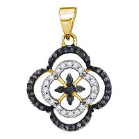 10kt Yellow Gold Womens Round Black Color Enhanced Diamond Quatrefoil Cluster Pendant 1/4 Cttw