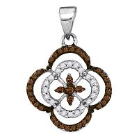 10kt White Gold Womens Round Cognac-brown Color Enhanced Diamond Quatrefoil Cluster Pendant 1/4 Cttw