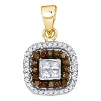 10kt Yellow Gold Womens Round Cognac-brown Color Enhanced Diamond Square Frame Pendant 1/3 Cttw