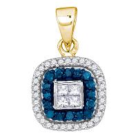 10kt Yellow Gold Womens Round Blue Color Enhanced Diamond Square Frame Pendant 1/3 Cttw