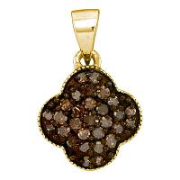 10kt Yellow Gold Womens Round Cognac-brown Color Enhanced Diamond Quatrefoil Cluster Pendant 1/4 Cttw