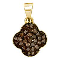 10kt Yellow Gold Womens Round Cognac-brown Color Enhanced Diamond Cluster Pendant 1/4 Cttw