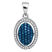 10kt White Gold Womens Round Blue Color Enhanced Diamond Oval Frame Cluster Pendant 1/3 Cttw