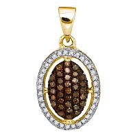 10kt Yellow Gold Womens Round Cognac-brown Color Enhanced Diamond Halo Cluster Pendant 1/3 Cttw