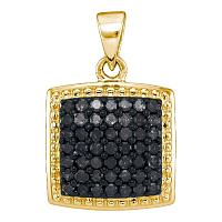 10kt Yellow Gold Womens Round Black Color Enhanced Diamond Square Cluster Pendant 1/2 Cttw