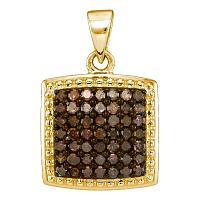 10kt Yellow Gold Womens Round Cognac-brown Color Enhanced Diamond Square Pendant 1/2 Cttw