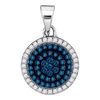 10kt White Gold Womens Round Blue Color Enhanced Diamond Concentric Circle Cluster Pendant 1/3 Cttw