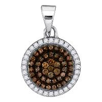 10kt White Gold Womens Round Cognac-brown Color Enhanced Diamond Circle Frame Cluster Pendant 1/3 Cttw
