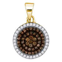 10kt Yellow Gold Womens Round Cognac-brown Color Enhanced Diamond Circle Frame Cluster Pendant 1/3 Cttw