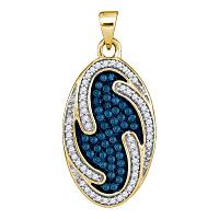 10kt Yellow Gold Womens Round Blue Color Enhanced Diamond Oval Wave Pendant 1/2 Cttw