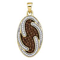 10kt Yellow Gold Womens Round Cognac-brown Color Enhanced Diamond Oval Cluster Pendant 1/2 Cttw