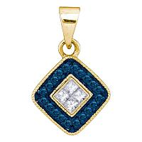 10kt Yellow Gold Womens Round Blue Color Enhanced Diamond Diagonal Square Pendant 1/5 Cttw