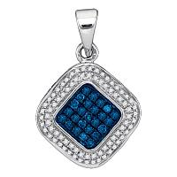 10kt White Gold Womens Round Blue Color Enhanced Diamond Diagonal Square Cluster Pendant 1/4 Cttw