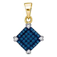 10kt Yellow Gold Womens Round Blue Color Enhanced Diamond Square Pendant 1/6 Cttw