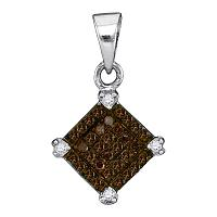 10kt White Gold Womens Round Cognac-brown Color Enhanced Diamond Square Pendant 1/6 Cttw