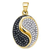 10kt Yellow Gold Womens Round Black Color Enhanced Diamond Oval Yin Yang Pendant 1/3 Cttw