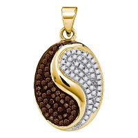 10kt Yellow Gold Womens Round Cognac-brown Color Enhanced Diamond Oval Yin Yang Tao Pendant 1/3 Cttw