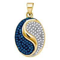 10kt Yellow Gold Womens Round Blue Color Enhanced Diamond Oval Yin Yang Pendant 1/3 Cttw