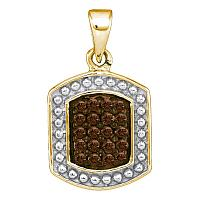 10kt Yellow Gold Womens Round Cognac-brown Color Enhanced Diamond Cluster Tag Pendant 1/5 Cttw