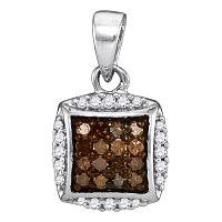 10kt White Gold Womens Round Cognac-brown Color Enhanced Diamond Square Cluster Pendant 1/4 Cttw