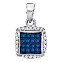 10kt White Gold Womens Round Blue Color Enhanced Diamond Square Pendant 1/4 Cttw