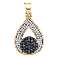 10kt Yellow Gold Womens Round Black Color Enhanced Diamond Teardrop Cluster Pendant 1/3 Cttw