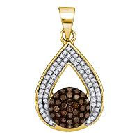 10kt Yellow Gold Womens Round Cognac-brown Color Enhanced Diamond Teardrop Cluster Pendant 1/3 Cttw