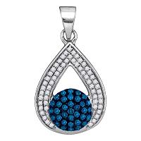 10kt White Gold Womens Round Blue Color Enhanced Diamond Teardrop Cluster Pendant 1/3 Cttw