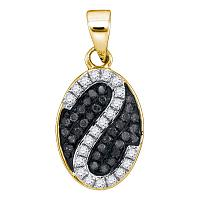 10kt Yellow Gold Womens Round Black Color Enhanced Diamond Oval Stripe Cluster Pendant 1/4 Cttw