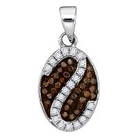 10kt White Gold Womens Round Cognac-brown Color Enhanced Diamond Cluster Stripe Pendant 1/4 Cttw