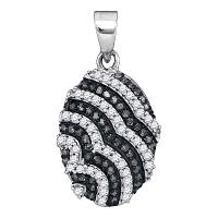10kt White Gold Womens Round Black Color Enhanced Diamond Alternating Stripe Oval Pendant 1/3 Cttw