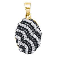 10kt Yellow Gold Womens Round Black Color Enhanced Diamond Alternating Stripe Oval Pendant 1/3 Cttw