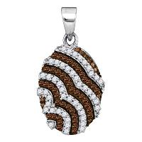 10kt White Gold Womens Round Cognac-brown Color Enhanced Diamond Oval Stripe Pendant 1/3 Cttw