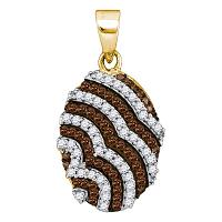 10kt Yellow Gold Womens Round Cognac-brown Color Enhanced Diamond Oval Stripe Pendant 1/3 Cttw
