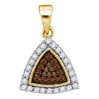 10kt Yellow Gold Womens Round Cognac-brown Color Enhanced Diamond Triangle Frame Cluster Pendant 1/3 Cttw